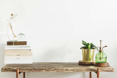 Stijlvolle en moderne inrichting met houten console, boeken, planten en accessoires. Kopieer ruimte voor inscriptie. Stockfoto