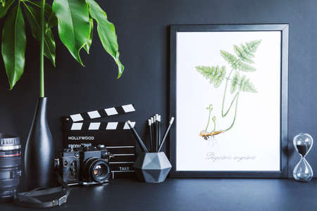 Minimalistic black desk with mock up photo frame, tropical leaf, photo camera, black accessories and plant.s Black backgrounds wall. Black decor interior.
