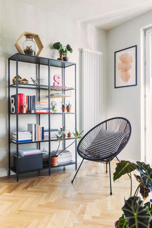 Stylish scandinavian living room with design armchair and bookstand with accessoreis Bright and sunny room with plants, poster and brown wooden parquet.