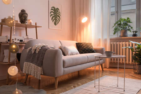 Stylish scandinavian interior with design sofa, poster, plants, pillows, bookstand, coffee table, cozy blanket and mock up frames. White background walls, brown wooden parquet. Photo by night.