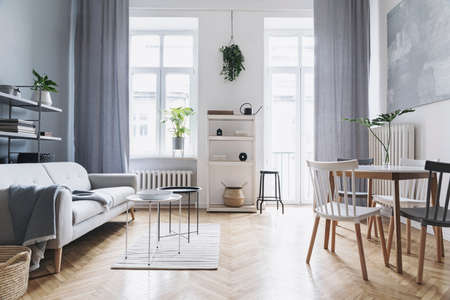 Bright home nordic living room with design sofa, family table, plant, white bookstand on the wall. Brown wooden parquet. Abstract painting on the white wall. Concept of minimalistic interior.