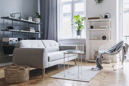 Modern and bright nordic living room with design sofa, coffee table, plants, stylish accessories and bookstand on the grey wall. Brown wooden parquet. Concept of minimalistic interior. Zdjęcie Seryjne