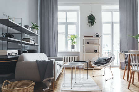 Stylish home scandinavian living room with design sofa, family table, plant, white and grey bookstand on the wall. Brown wooden parquet. Concept of minimalistic interior. Zdjęcie Seryjne - 119077191