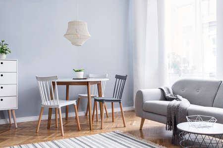Modern scandinavian decor of open space with design furniture, family table, sofa and plants Brown wooden parquet and stylish carpet. Nice and minimalistic apartment. Big windows. Bright and sunny.