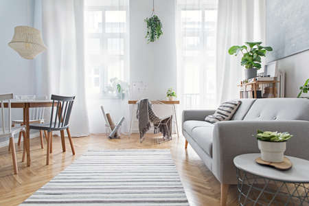 Modern scandinavian living room with design furniture, family table, plants, bamboo bookstand and wooden desk. Brown wooden parquet. Abstract painting on the white wall. Nice apartment. Zdjęcie Seryjne