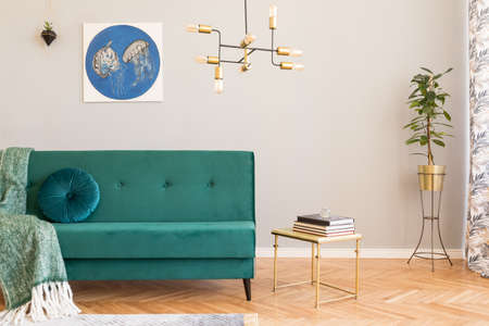Bright and sunny minimalistic home interior with design green velvet sofa, furniture,plant, gold coffee table with books and elegant pendant lamp. Brown wooden parquet. Stylish decor of living room. Reklamní fotografie