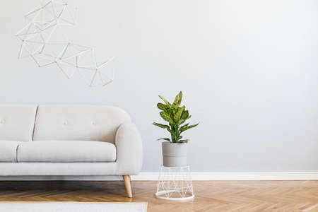 Minimalistic and abstract interior of open space with design gray sofa, plant on the basket, triangle geometric sculptures. Gray background walls, wooden parquet. Modern concept of room. Template.