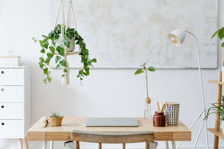 Stylish and boho home interior of open work space with wooden desk, chair, lamp, laptop and white shelf. Design and elegant personal accessories. Botany and minimalistic home decor with plants. 免版税图像