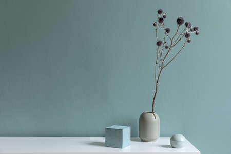 Design d'intérieur minimaliste du salon dans un bel appartement avec étagère élégante, vase avec fleurs et accessoires élégants. Espace de copie. Concept de couleur d'eucalyptus. Modèle.