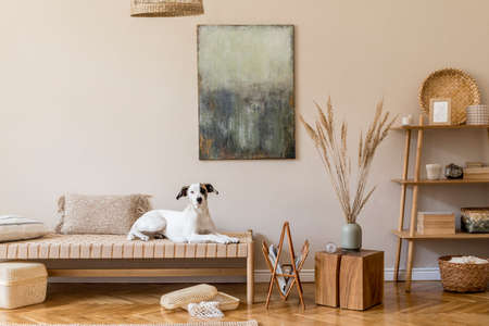 Boho composition of living room with furnitures, mock up painting, rattan decoration, bamboo shelf with elegant personal accessories. Beautiful dog lying on the chaise longue. Home decor Template.