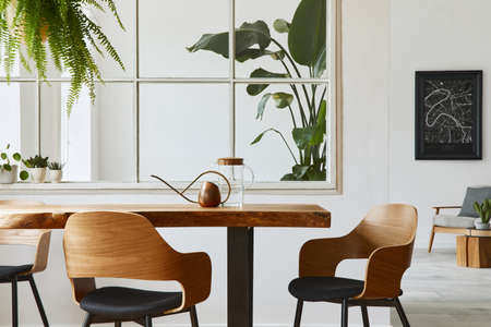 Stylish and botany interior of dining room with design craft wooden table, chairs, a lof of plants, window, poster map and elegant accessories in modern home decor. Template. Banque d'images