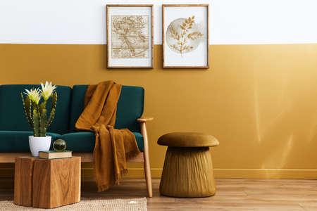 Stylish scandinavian interior of living room with design green velvet sofa, gold pouf, wooden furniture, cacti, carpet, cube, copy space and mock up poster frames. Template. Reklamní fotografie