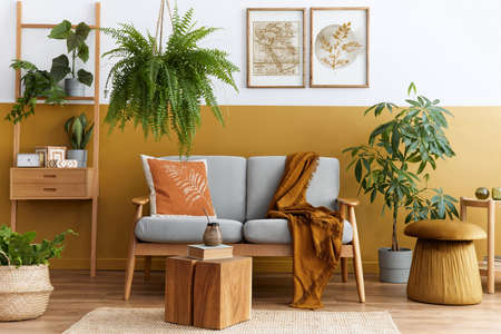 Stylish scandinavian interior of living room with design gray velvet sofa, cube, furniture, plants, carpet, decoration and mock up poster frames. Template.