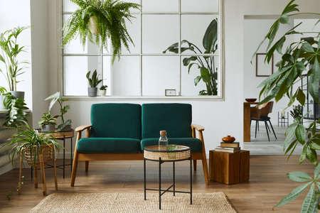 Stylish scandinavian living room interior with green velvet sofa, coffee table, carpet, plants, furniture, elegant accessories in modern home decor. Template. Reklamní fotografie