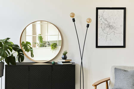 Stylish composition of living room interior with design black commode, a lot of plants, mock up poster map, decoration and elegant personal accessories. template. Modern home decor.
