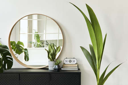 Stylish composition of living room interior with design black commode, a lot of plants, round mirror, decoration and elegant personal accessories. template. Modern home decor. 版權商用圖片