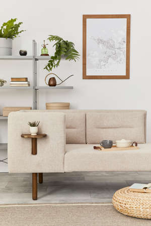 Scandinavian interior with stylish sofa, design furniture, bookcase, plants, decoration, mock up poster map and elegant personal accessories. Neutral living room in classic house. Template. 版權商用圖片 - 160681781
