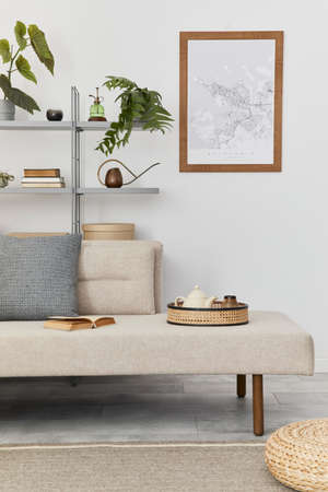 Scandinavian interior with stylish sofa, design furniture, bookcase, plants, decoration, mock up poster map and elegant personal accessories. Neutral living room in classic house. Template. 版權商用圖片 - 160681792