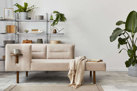 Cozy interior with stylish sofa, bookcase, plants, carpet, decoration, mock up poster map and elegant personal accessories. Neutral living room in classic house. Template. 版權商用圖片 - 160681804