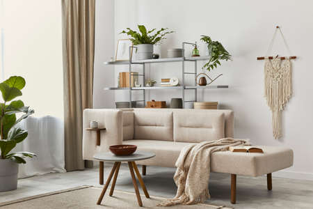 Cozy interior with stylish sofa, gray coffee table, bookcase, plants, carpet, decoration, beige macrame and elegant personal accessories. Neutral living room in classic house. Template. 版權商用圖片 - 160681805