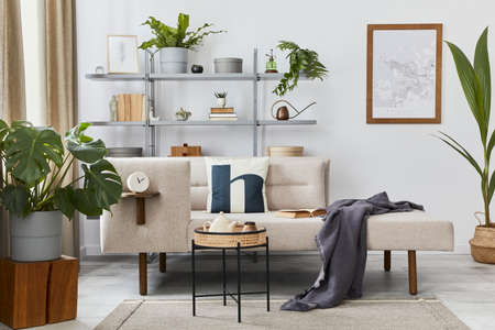 Cozy interior with stylish sofa, design coffee table, bookcase, plants, carpet, decoration, mock up poster map and elegant personal accessories. Neutral living room in classic house. Template. 版權商用圖片 - 160681855