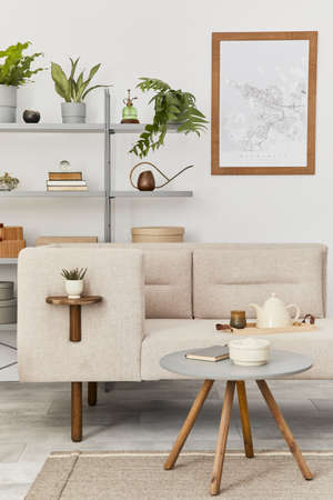 Cozy interior with stylish sofa, gray coffee table, bookcase, plants, carpet, decoration, mock up poster map and elegant personal accessories. Neutral living room in classic house. Template. 版權商用圖片 - 160681870