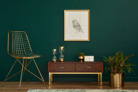 Luxury interior with stylish chair, wooden commode, mock up poster frame, plants, gold decoration and elegant personal accessories. Modern living room in classic house. Template. 版權商用圖片