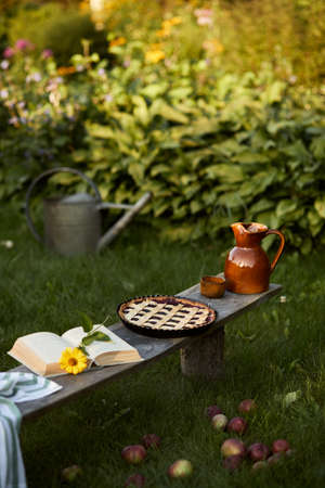 Stylish composition of countryside garden with old wooden bench, book, sunflower, cake, ceramic jar and elegant accessories. A lot of colorful flowers. Summer mood. Template.
