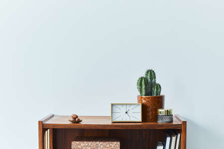 Stylish scandinavian living room interior with retro commode, clock, cacti, decoration, book and personal accessoreis in home decor. Template. Copy space.