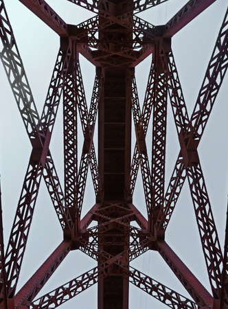 rust red: Symmetric photo from under a red iron bridgeThe picture was taken in Salta, Argentina