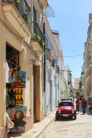 Antique Volkswagen Beetle on the street, Cuba, Havana