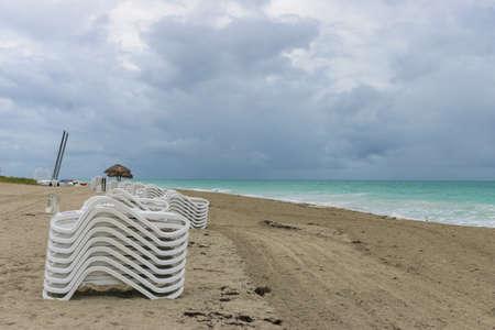 Morning empty beach, Cuba, Varadero Stock Photo