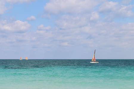 Sailboats sailing along the Atlantic coast, Cuba, Varadero 写真素材