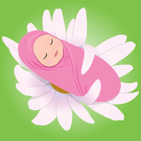 illustration of sleeping babe in Daisy