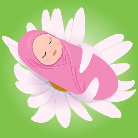 babe: illustration of sleeping babe in Daisy