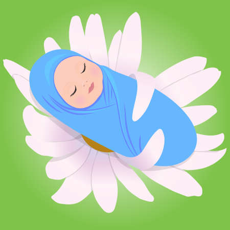 babe: Vector illustration of sleeping babe in Daisy