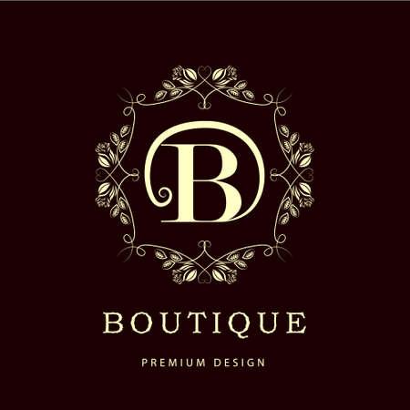 monogram: Simple and graceful floral monogram design template. Elegant line art logo design. Letter B. Vector illustration