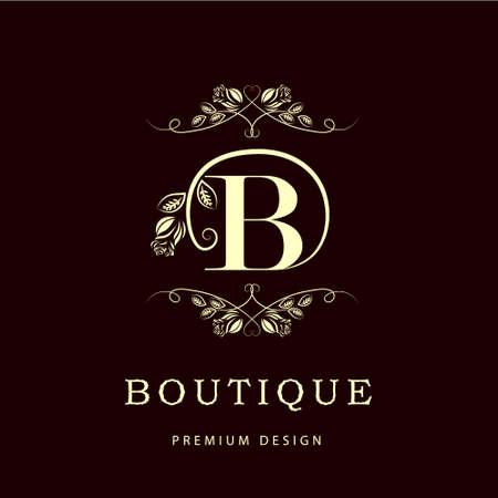 Eenvoudige en sierlijke bloemen monogram ontwerp sjabloon. Elegante lijntekeningen logo ontwerpen. Letter B. Vector illustratie