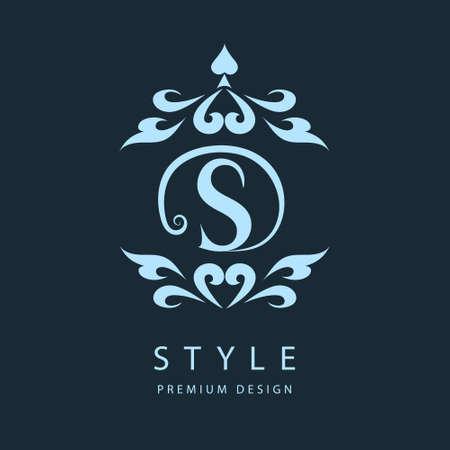 シンプルで優雅な花のモノグラム デザイン テンプレートです。エレガントなライン アートのロゴデザイン。手紙 s. ベクトル図  イラスト・ベクター素材