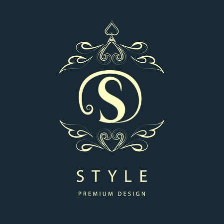 floral letters: Simple and graceful floral monogram design template. Elegant line art logo design. Letter S. Vector illustration Illustration