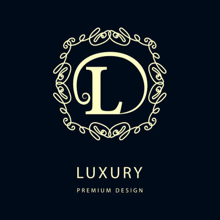 L: Simple and graceful floral monogram design template. Elegant line art logo design. Letter L. Vector illustration