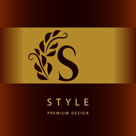 graceful: Monogram design elements, graceful template. Elegant line art  design. Letter S. Emblem. Vector illustration Illustration