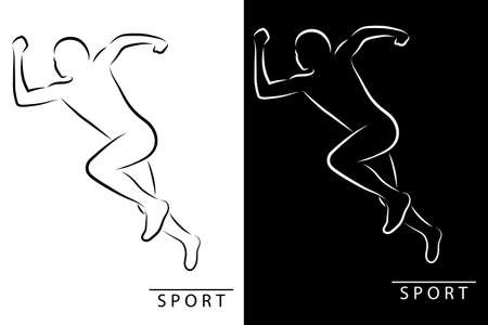 Silhouette of an athlete running. Black and white illustration. Vector illustration
