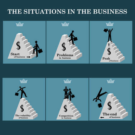 situations: Situations in business- vector set. Vector illustration Illustration