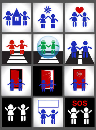 Set of icons Silhouettes of children. Signs and icons. Vector illustration Vector