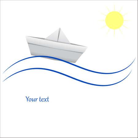 blue waves vector: Paper boat in blue waves. Vector illustration