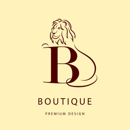lion silhouette: Monogram design elements, graceful template. Elegant line art design. Letter B. Emblem. Lion silhouette.  Vector illustration