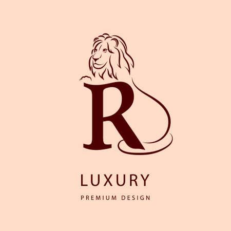 lion silhouette: Design elements, graceful template. Elegant line art design. Letter R. Emblem. Lion silhouette. Vector illustration Illustration