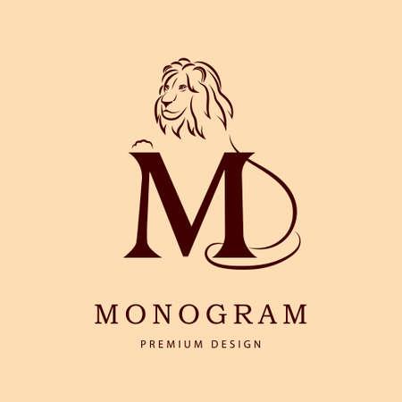 lion silhouette: Design elements, graceful template. Elegant line art design. Letter M. Emblem. Lion silhouette. Vector illustration