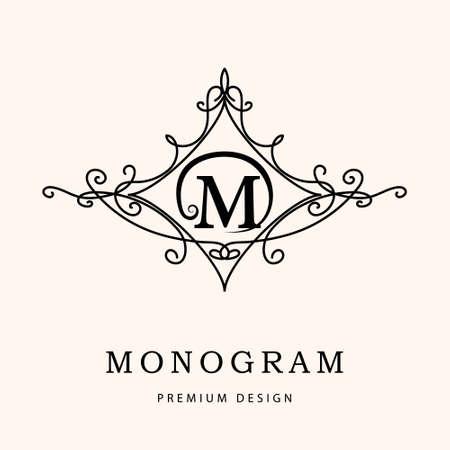 Monogram design elementen, sierlijke sjabloon. Elegant lijn art design. Letter M. Emblem. Vector illustratie